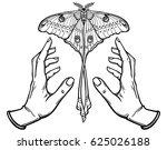 human hands hold a butterfly... | Shutterstock .eps vector #625026188