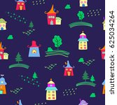 cute colorful houses seamless... | Shutterstock .eps vector #625034264