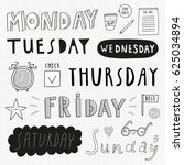 super cute set of days of week... | Shutterstock .eps vector #625034894