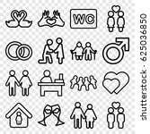 couple icons set. set of 16... | Shutterstock .eps vector #625036850