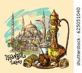 east tea illustration with... | Shutterstock .eps vector #625051040
