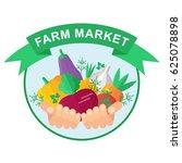 farmer holding rich harvest in... | Shutterstock .eps vector #625078898