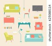 vector set of the furniture of... | Shutterstock .eps vector #625088114