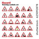 set road hazard warning signs ... | Shutterstock .eps vector #625092878
