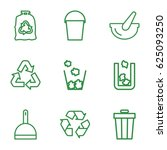 garbage icons set. set of 9... | Shutterstock .eps vector #625093250