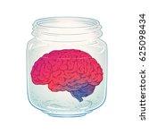 human brain in glass jar... | Shutterstock .eps vector #625098434