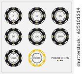 Poker Chips In Flat Style. The...
