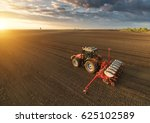 farmer with tractor seeding  ... | Shutterstock . vector #625102589