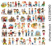 set of happy family  people ... | Shutterstock .eps vector #625108400
