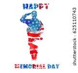 happy memorial day. watercolor... | Shutterstock . vector #625110743