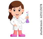 young girl scientist   Shutterstock .eps vector #625115078