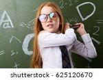 little girl with glasses... | Shutterstock . vector #625120670