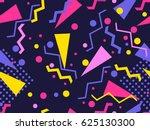 memphis seamless pattern.... | Shutterstock .eps vector #625130300