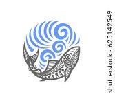 tribal fish wave | Shutterstock .eps vector #625142549
