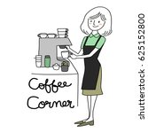 cute female barista using... | Shutterstock .eps vector #625152800