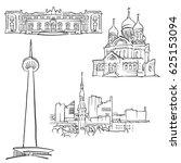 tallinn estonia famous... | Shutterstock .eps vector #625153094