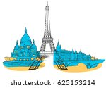 paris france colored panorama ... | Shutterstock .eps vector #625153214