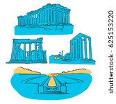 athens greece colored landmarks ... | Shutterstock .eps vector #625153220