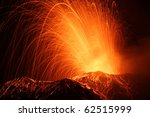 eruption of the volcano stromboli / eolian islands / italy - stock photo