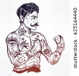 hand drawn tattooed sailor... | Shutterstock .eps vector #625164440