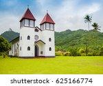 haapiti church in moorea island ... | Shutterstock . vector #625166774