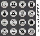 set of 16 editable university... | Shutterstock .eps vector #625179590