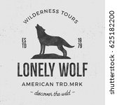 old wilderness label with wolf... | Shutterstock . vector #625182200