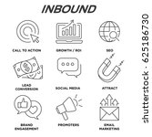 inbound marketing vector icons... | Shutterstock .eps vector #625186730
