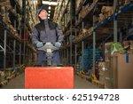 caucasian worker in uniform...   Shutterstock . vector #625194728