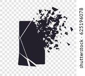 cracked phone screen shatters... | Shutterstock .eps vector #625196078