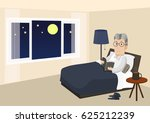 old man lying on a bed reading... | Shutterstock .eps vector #625212239