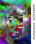 abstract painting with woman... | Shutterstock . vector #625214444