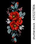 embroidered poppies  berries... | Shutterstock .eps vector #625227806