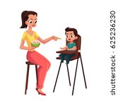 mother feeding her son sitting... | Shutterstock .eps vector #625236230