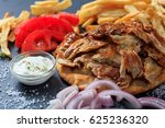 greek gyros dish on a black... | Shutterstock . vector #625236320