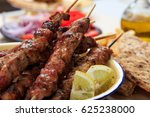 souvlaki dish  greek food.... | Shutterstock . vector #625238000