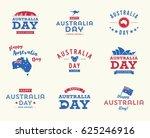 happy australia day logo set  ...   Shutterstock .eps vector #625246916