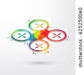 watercolor drone quadrocopter...   Shutterstock .eps vector #625250060