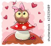 cute cartoon owl girl on the... | Shutterstock . vector #625253489