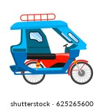 motorized tricycle. vector flat ... | Shutterstock .eps vector #625265600