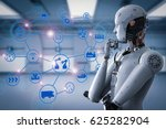 3d rendering android robot with ... | Shutterstock . vector #625282904
