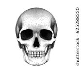 stippled human skull with a... | Shutterstock .eps vector #625288220