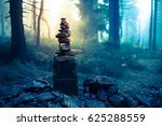 piled good luck stones showing... | Shutterstock . vector #625288559