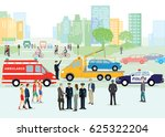 traffic accident with police... | Shutterstock . vector #625322204