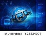 3d rendering computer network | Shutterstock . vector #625324079