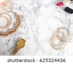 jewelry on a marble background | Shutterstock . vector #625324436