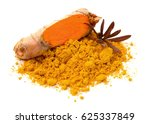 turmeric root and powder... | Shutterstock . vector #625337849