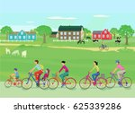 bicycle trip with the family ... | Shutterstock . vector #625339286
