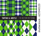 Navy And Green Argyle  Tartan...