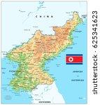 north korea physical map.... | Shutterstock .eps vector #625341623